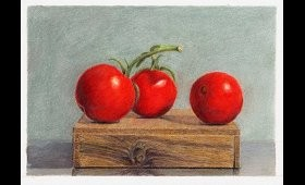 Three Tomatoes on a Box